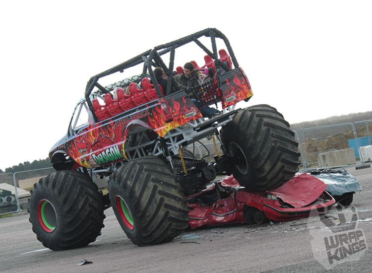 wrapkings-stickerfitters-wrapping-red-dragon-monstertruck-ride-ford-f350-3M-ij380-promotional-wrap-santa-pod-westmidlands-vinyl-wrap-cradley-quarrybank