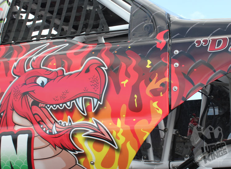 wrapkings-wraproyalty-stickerfitters-wrapping-red-dragon-monstertruck-ride-ford-f350-3M-ij380-promotional-wrap-santa-pod-westmidlands-pod-drag-strip-printed