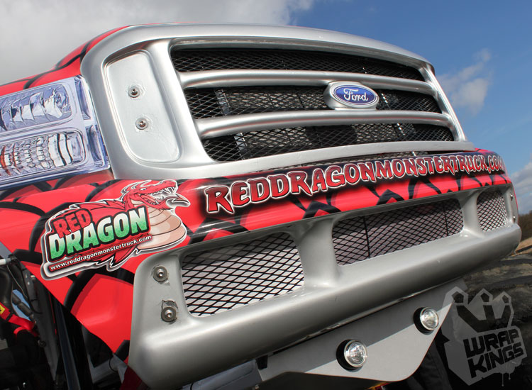 wrapkings-wraproyalty-stickerfitters-wrapping-red-dragon-monstertruck-ride-ford-f350-3M-ij380-promotional-wrap-santa-pod-westmidlands-vinyl